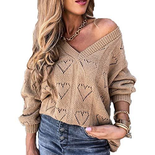 A/N Herbst Und Winter New Sweater Crochet Hollow V-Ausschnitt Langarm Pullover Pullover Frauen