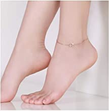 TPXR Anklet, 18K Rose Gold Plated With 925 Silver, Inlaid With Swarovski To Form A Square Zirconia, Ladies And Girls Charm Anklet Fashion Accessories Adjustable