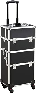 Yaheetech 3 in 1 Cosmetic Rolling Makeup Train Case Large Aluminum Trolley Makeup Travel Case Professional Rolling Cosmetic Beauty Storage, with 360° Swivel Wheels, Black