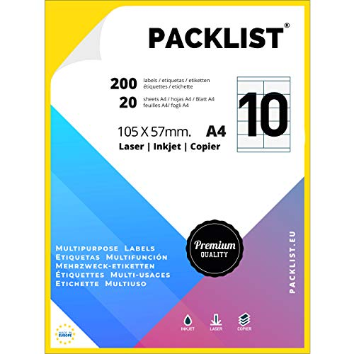 PACKLIST 200 Etiquetas Adhesivas A4 Blancas 105 x 57 mm. 20 Hojas Papel Pegatina para Imprimir A4, 10 Etiquetas por Hoja. Papel Adhesivo para Imprimir - Papel de Pegatina para Imprimir