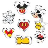 8 Pieces Mouse Cookie Cutters,Themed of Mickey Minnie Mouse Shaped Biscuit Mould, Stainless Steel Cake Cutter Set Baking Molds
