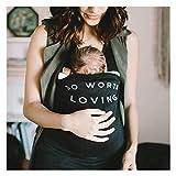 HUIGE Kangaroo Camiseta de lactancia materna, cuidado del bebé, mami, embarazo, lactancia, bolsillo grande, sin mangas, transpirable, impresión, color negro, XXL