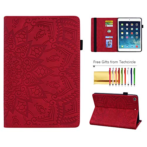 Folio Case for Apple iPad 7th Gen 10.2-inch (2019), Techcircle Anti-Slip Stand Mandala Embossed Leather Flip Soft TPU Back Protective Cover with Elastic Strap, Card Slots and Pencil Holder, Red