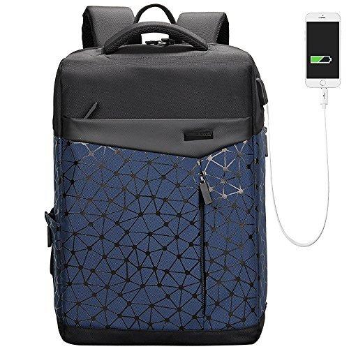 [Aoking] 人気 黒 USBポート搭載多機能バックパッ クパソコン 男子 軽い シンプル ビジネス Pc リュック (ブルー)