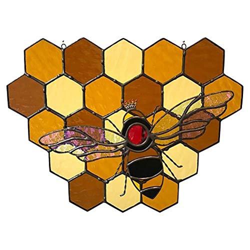 CZSMART Queen&Bee Protect Honey Suncatcher, Bumble Bee Honeycomb Sun Catcher,Bee Suncatchers for Windows, Queen Bee and Servants Protecting Bumble Bee Hive Decor,Wall Hanging Ornament