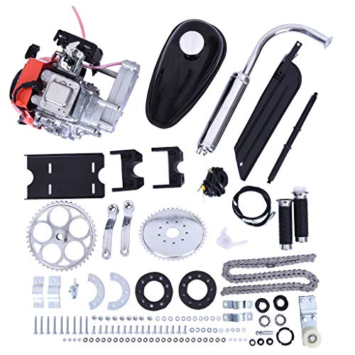 OMGG 49cc 4 Stroke Engine Motor Kit, 4 Stroke Gas Motorized Bike Bicycle Engine Motor Kit Petrol Motorized Bike Engine Scooter Parts for 26' Bikes (Silver)