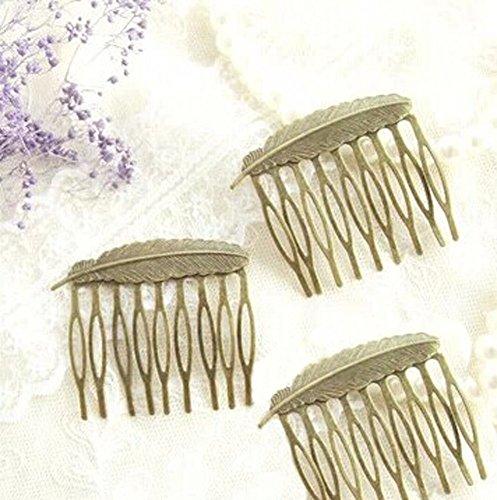 Ensemble de 3 rétro exquise plume bronze mini-accessoire de peignes, 5.2x5.1 CM