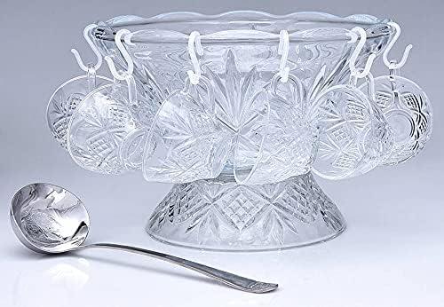 Godinger Crystal Large discharge sale Punch Bowl Set Collection Piece Classic Dublin 9