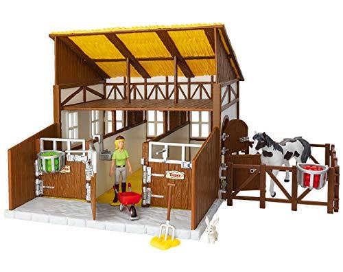 CRAZE BIBI & TINA Pferdestall Set mit Pferden Spielfiguren und Zubehör Reiterhof Bauernhof 15360