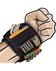 LEKEONE Magnetic Wristband, Magnetic Tool Belt Tool Wristband with 2 Small Pockets,15-Powerful Magnets Adjustable Velcro Magnetic Screws Wristband for Holding Small Tools