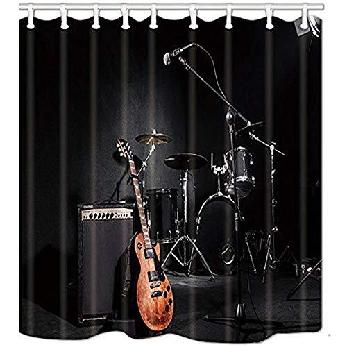 King34Webb Musik-Duschvorhang für Badezimmer, Grunge-Konzert-Instrumente, Gitarre & Trommel in Schwarz, Polyesterstoff, wasserdichter Badvorhang (152,4 x 182,9 cm)