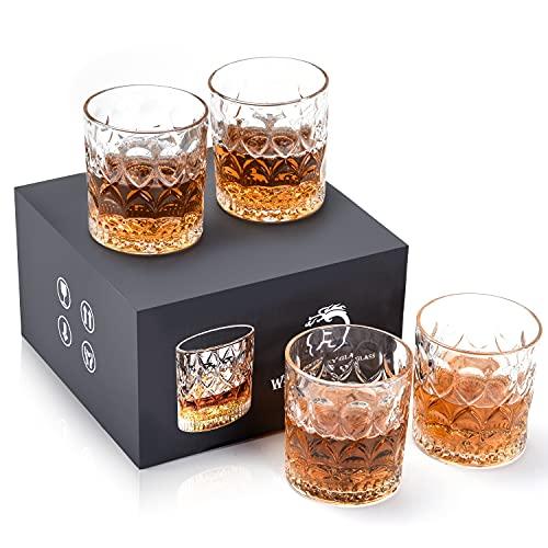 Bicchieri Whisky, Set Bicchiere Whisky di 4, Bicchieri da Whisky da 300 ml per Bere...