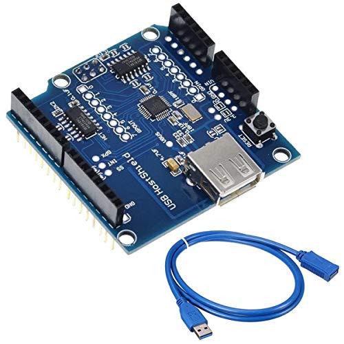 Youmile USB Host Shield Erweiterungskarte Kompatibel mit Arduino UNO MEGA 2560 Unterstützt Google Android ADK USB HUB mit USB Verlängerungskabel