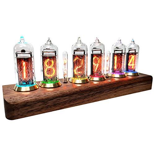 InLoveArts Nixie Tube Clock, Nixie Röhrenuhr mit High-End LED Farblöhre, kreative Digitaluhr mit USB-Kabel, Nixie Uhr, Geeignet für Tube Clock Geschenke für Freunde und Kinder