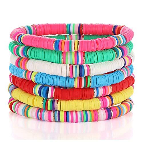 Heishi - Juego de pulseras elásticas para mujer con cuentas de vinilo africanas y arco iris, hechas a mano, con capas, para surf, playa, juego de joyas de vacaciones de verano (color a)