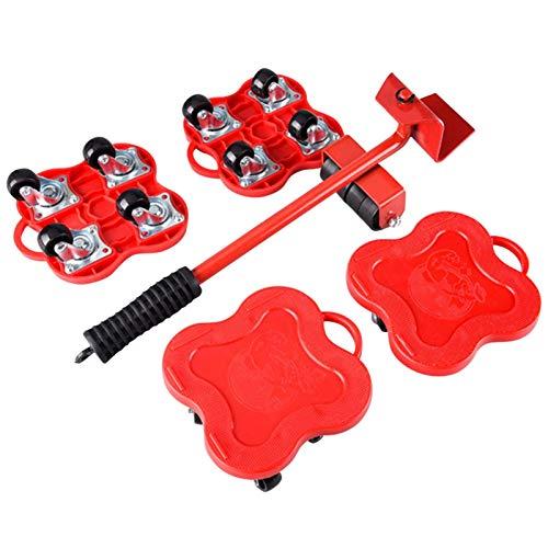 Muebles para Mover & Elevador Kit-4 Electrodoméstico Rodillo Pasadores & 1 Muebles Elevador, 360 Grados Giratoria Pesado Muebles Rodillo en Marcha! Herramientas Para Sofás Refrigeradores Sofás - Rojo