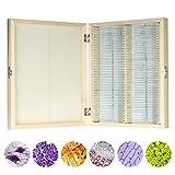 KKmoon 100ピースセット 顕微鏡スライドガラス プレパラートボックス 木製収納ケース 動物/植物/昆虫標本スライド 生物科学教育用