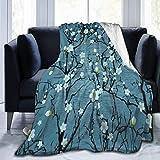 JOOCAR Mantas y mantas de franela manta para sofá/cama manta de felpa japonesa flor de cerezo manta mullida regalo para bebé niña niño papá mamá