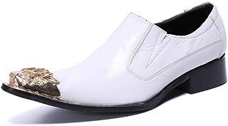 YOWAX Zapatos de Cuero de la Cabeza del Metal Blanco de los Hombres por Formales, Casuales, Fiesta, Negocios Personalizada...