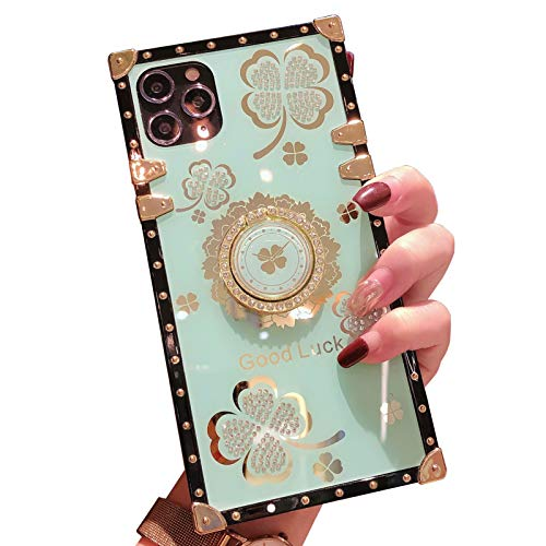 Yesun K para iPhone 11 12 Pro Max Bling Clover Ring Holder Square Silicone Phone Case para niñas y mujeres (Ice Sea Blue, iPhone 11 Pro 5.8'')