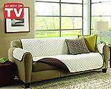 Exclusiva funda de sofá de 3 plazas reversible,ligera y con acolchado de nueva generación, tela fresca y agradable al tacto.Funda con reposabrazos. Color beige/marrón 1067