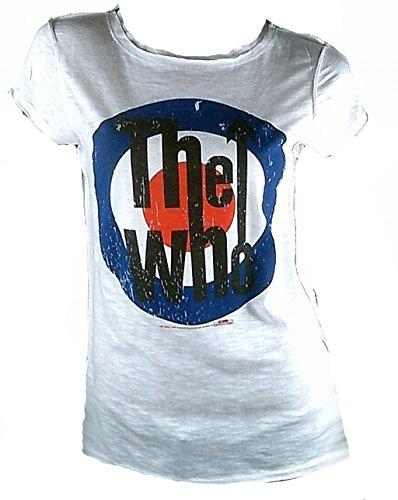 Amplified Damen Lady T-Shirt Weiss White Official The WHO Merchandise Target VIP Rock Star Vintage Nähte Aussen L 42