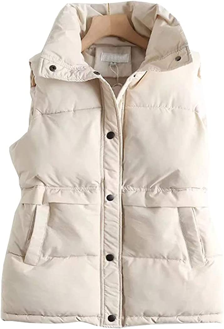 Hixiaohe Women's Winter Mid Long Quilted Cotton Padded Vest Loose Sleeveless Jackets