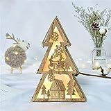 LED Licht Holzhaus Niedlich Christbaumschmuck Fenster Urlaub Dekoration, QHJ Deko Weihnachten Hölzerne Leuchtende Christbaumschmuck Lichter (B)