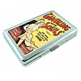 Reefer Madness Gambling Souls Vintage Poster Silver Cigarette Case S3 Metal Wallet Id Holder 4' X 2.75' RFID Protection