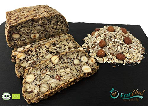 Fru'Cha! - BIO Brot-Backmischung mit Haselnusskernen, glutenfrei und vegan, paleo -750gr Plastikfrei verpackt -100% kompostierbar
