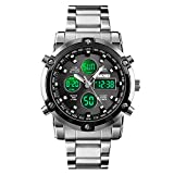Analog Digital Watch for Men, Mens Watch with Dual Display Alarm Countdown Stopwatch LED Backlight, Quatz Wrist Watch for Men