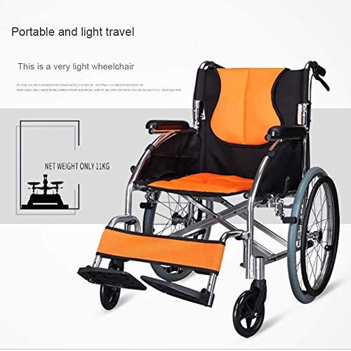 YYSDH 12/20/24 faltbaren Rollstuhl-Zoll-Bremse mit Fußstützen und Armlehnen Ausziehbare Größe Deaktiviert,24 inches