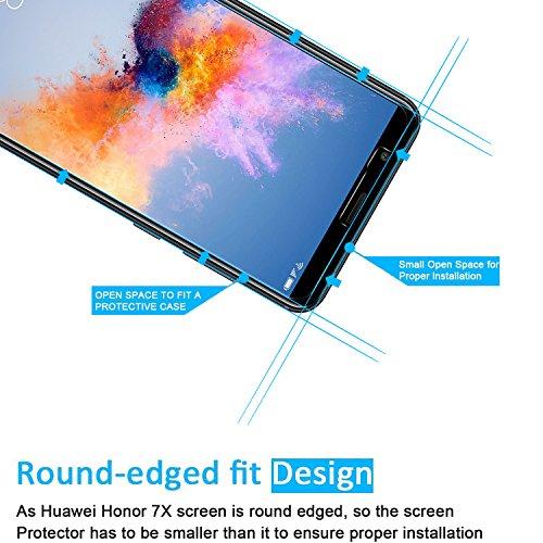 NEW'C PanzerglasFolie Schutzfolie für Huawei Honor 7X, [3 Stück] Frei von Kratzern Fingabdrücken und Öl, 9H Härte, HD Displayschutzfolie, 0.33mm Ultra-klar, DisplayschutzfolieHuawei Honor 7X - 3