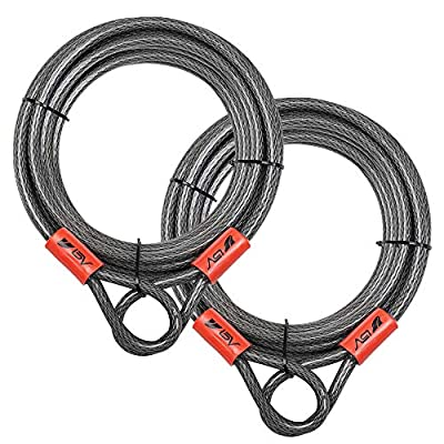 BV 30FT Security Steel Cable with Loops, Flex Cable, Lock Cable 3/8 Inch, for U-Lock and Padlock