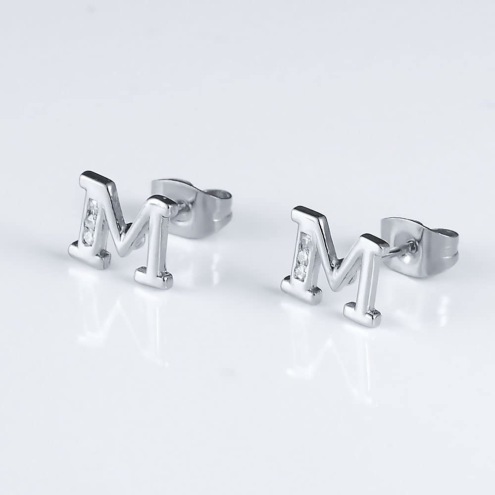 Tarsus Hypoallergenic Initial Letter Studs Earrings 14K Gold Plated Jewelry Gifts for Sensitive Ears for Women Mens Girls Boys