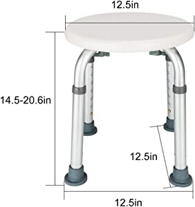MOLUO stool Aluminum Alloy Elderly Bath Chair Round Stool with Sucker Armrest Bathroom Aid Bathing Stool Bench for Home Furniture Accessorie