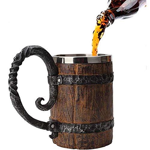 A Mano Boccale Di Birra, Tazza in Acciaio Inox Di Quercia, Regali Di Legno Rustico Tazza Botte Di Legno Per Gli Uomini Capacità: (Ml 550) 18,60 Once