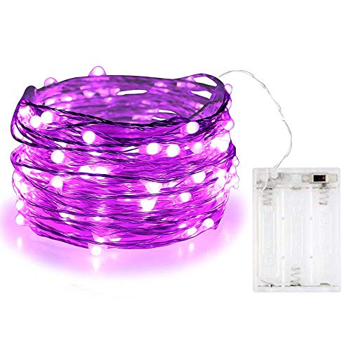 BOLWEO Battery Operated Fairy String Lights,Christmas Decorations Lights,10Ft/3M Copper Wire 30LEDs Indoor Outdoor Home Bedroom Holiday Lighting, Purple