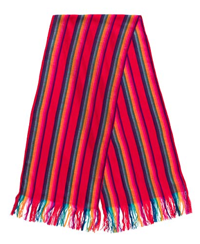 Fiesta Brands Mexican Themed Colorful Table Runners Tablecloth Mini Serapes Rebozo Scarf Tipicos Mexicanos, Southwest Runner Table Stripes (Red and Blue)