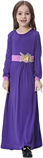OBEEII Girl Muslim 3D Flower Applique Abaya Jilbabs Long Sleeve Hijabs Maxi Dress Full Length Clothes