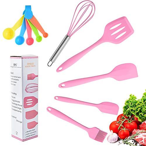 SchöNes - Juego de 6 espátulas, 6 utensilios de cocina de silicona resistente, espátula, juego de cocina, incluye espátula, espátula, escritorio, rasqueta y cuchara medidora, color rosa