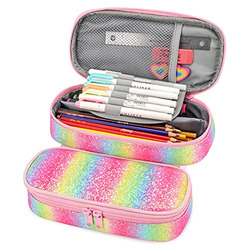 mibasies Pencil Case for Little Girls and Kids Glitter Pen Pouch (Pink Rainbow 1)