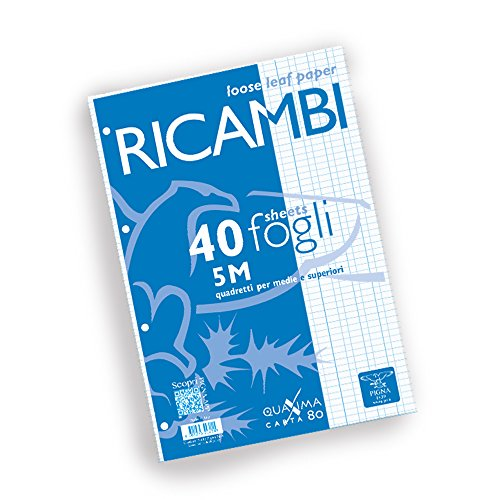 Pigna 00629035M, Ricambio non rinforzato, Rigatura 5M, quadretti 5 mm per 2° e 3° elementare, Carta 80g/mq, Pacco da 40 Fogli