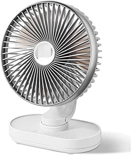 SeptYN Ventilador de Escritorio Tranquilo, Ventilador de batería de 6,5 Pulgadas, Circulador de Aire de enfriamiento silencioso, operado para hogar, Cama, Oficina, Plata,Grey
