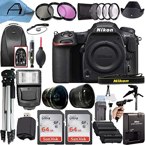 Nikon D500 DSLR Camera Body 20.9MP Sensor with 2 Pack SanDisk 64GB Memory...