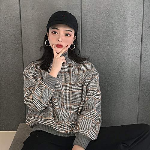 Ulzzang Fashion Plaid Hair Casual Long-Sleeved Pullover New Harajuku Stitching Thread Loose Female Sweatshirt One Size Gray