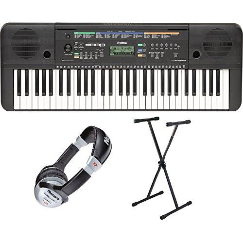 Yamaha PSR E253 keyboard-set incl. keyboard-standaard en hoofdtelefoon (61 toetsen, AWM stereo sampling-geluidsproductie, 32-stemmige polyfonie, 372 geluiden + 13 drumkits, incl. netadapter en muzieksteun)