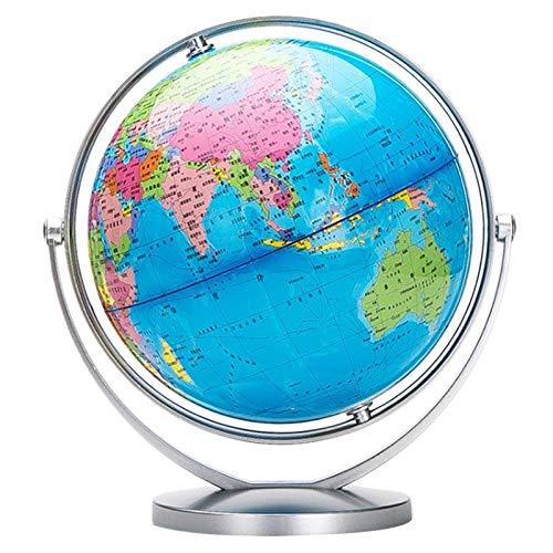 Adornos Globo, Interactive Globe Gorbo de Globo Goteo General de Escritorio para Niños Aprendizaje para Estudiantes Educación Geografía, Oficina decoración (Color : Silver 14.16cm Dia.)