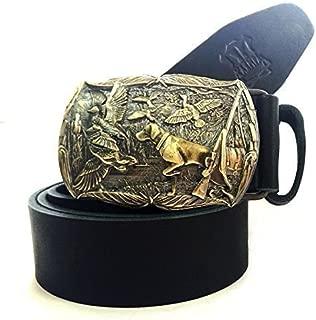 Brass belt buckle Duck Hunting On a Full-Grain Leather Belt