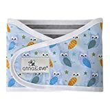 Anna & Eve - Baby Swaddle Strap, Adjustable Arms Only Wrap for Safe Sleeping - Small Size Fits Chest 13.5 to 17, Owls Blue/Green